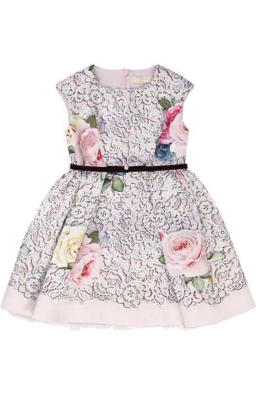 Купить Платье-миди с принтом и поясом из велюра Monnalisa, 710911, Италия, Разноцветный