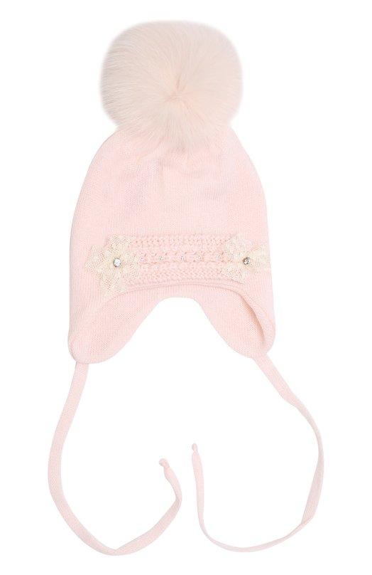 Купить Шерстяная шапка с меховым помпоном и вышивкой с кристаллами Il Trenino, 17 4022/E0, Италия, Розовый, Шерсть: 100%; Отделка мех./лиса/: 100%;