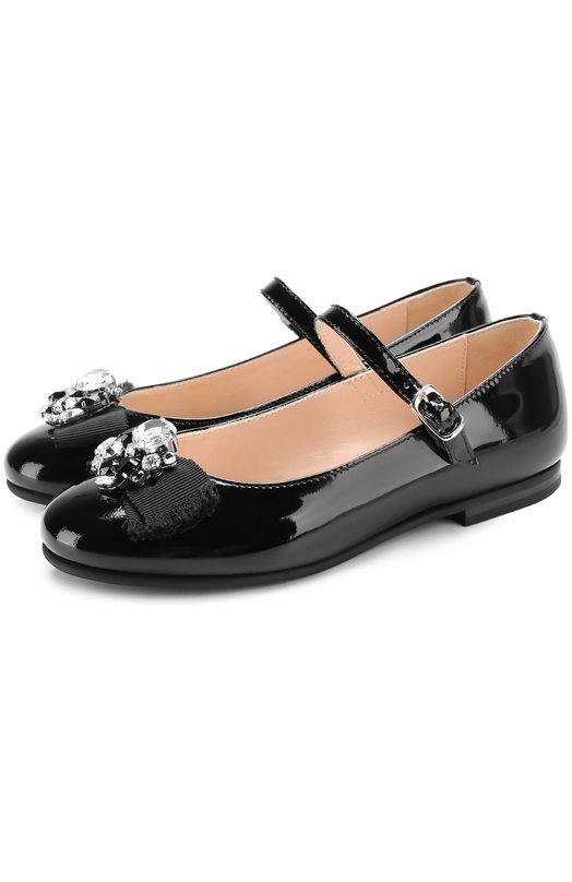 Купить Лаковые туфли на ремешке с бантом и кристаллами Il Gufo, G362/PATENT BLACK/35-40, Италия, Черный, Кожа натуральная: 100%; Стелька-кожа: 100%; Подошва-резина: 100%;