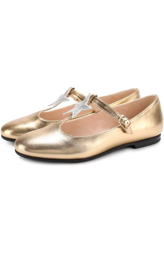 Купить Туфли из металлизированной кожи с аппликацией и ремешком Il Gufo, G363/INCR0CIAT0 LAMI/35-40, Италия, Золотой, Кожа натуральная: 100%; Стелька-кожа: 100%; Подошва-резина: 100%;