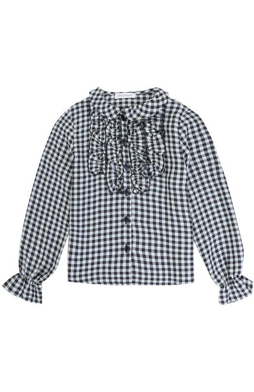 Купить Блуза из вискозы в клетку с оборками I Pinco Pallino, 1702122003/07491/2-6, Болгария, Голубой, Вискоза: 100%;