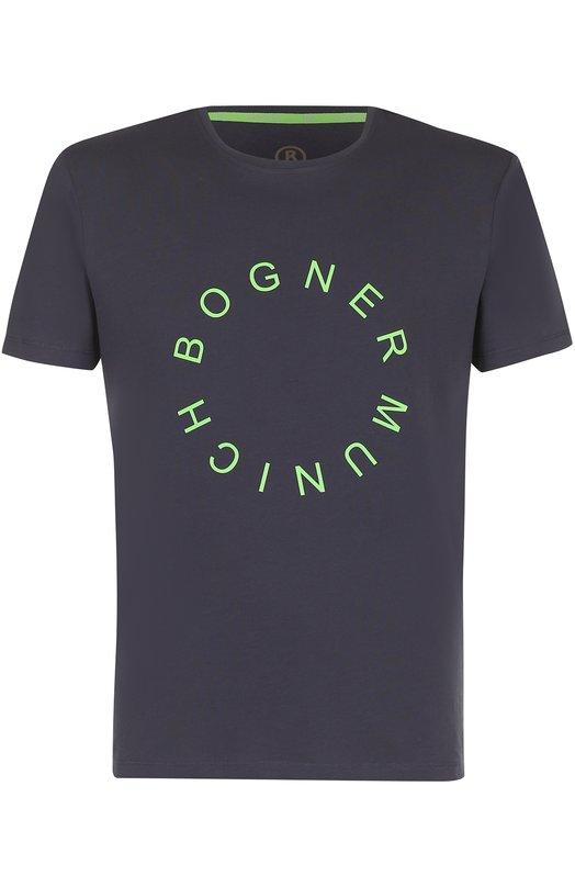 Купить Хлопковая футболка с логотипом бренда Bogner, 58051503, Португалия, Темно-синий, Хлопок: 100%;