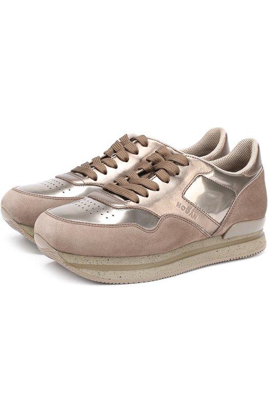 Купить Комбинированные кроссовки на шнуровке Hogan, HXW2220M46875P956G, Италия, Темно-бежевый, Кожа натуральная: 100%; Стелька-кожа: 100%; Подошва-резина: 100%; Замша натуральная: 100%;