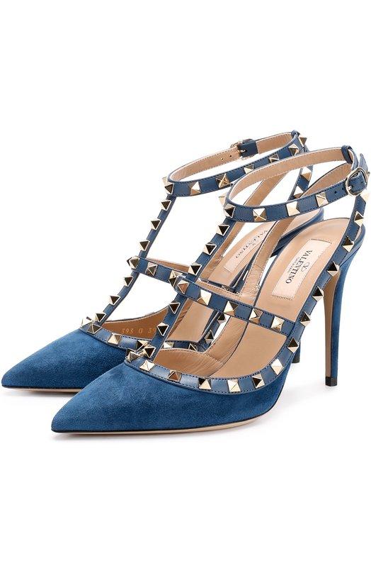Замшевые туфли Rockstud на шпильке Valentino