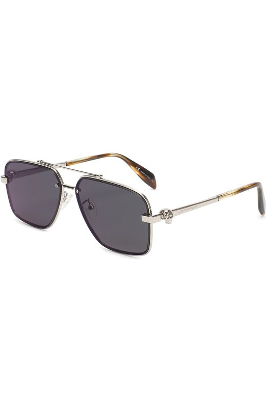 Купить Солнцезащитные очки Alexander McQueen, AM0081 004, Италия, Серебряный