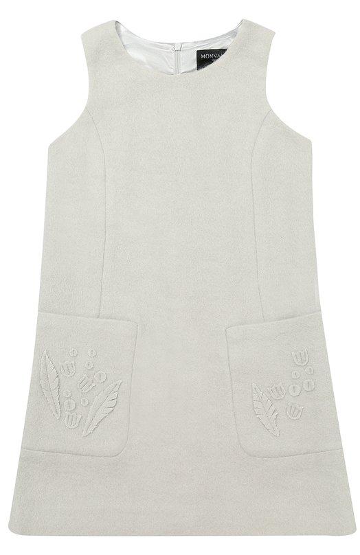 Купить Мини-платье А-силуэта с накладными карманами и аппликациями Monnalisa, 190914R5, Китай, Серый, Акрил: 55%; Полиамид: 45%; Подкладка-полиэстер: 100%;