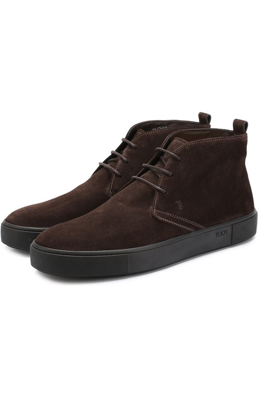 Купить Замшевые ботинки на шнуровке Tod's, XXM56A00D80RE0S800, Италия, Темно-коричневый, Стелька-кожа: 100%; Подошва-резина: 100%; Замша натуральная: 100%;