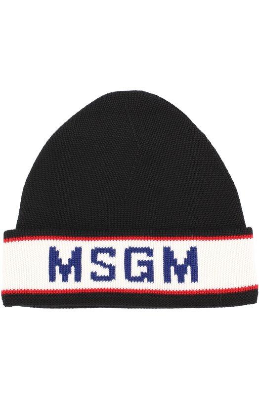 Шерстяная шапка с контрастной отделкой MSGM