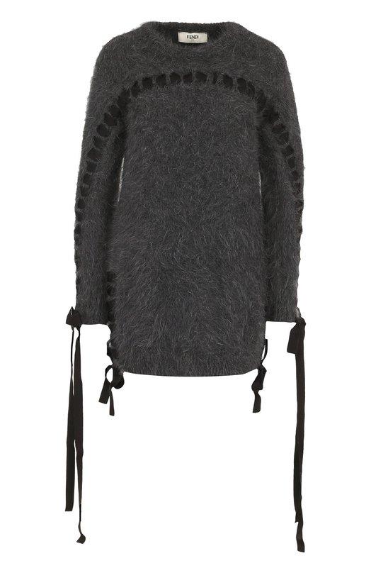 Купить Вязаный пуловер с декоративной отделкой Fendi, FZZ967/0ZP, Италия, Серый, Ангора: 80%; Отделка-вискоза: 60%; Отделка-хлопок: 40%; Полиамид: 20%;