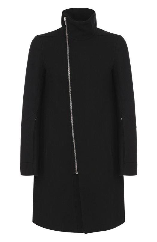 Купить Шерстяное пальто на молнии с воротником-стойкой Rick Owens, RU/17F8992/SHM, Италия, Черный, Шерсть овечья: 80%; Полиамид: 20%; Подкладка-купра: 100%;