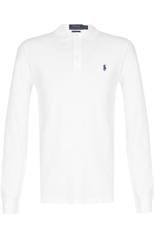 Купить Хлопковое поло с длинными рукавами Polo Ralph Lauren, 710661016, Вьетнам, Белый, Хлопок: 97%; Эластан: 3%;