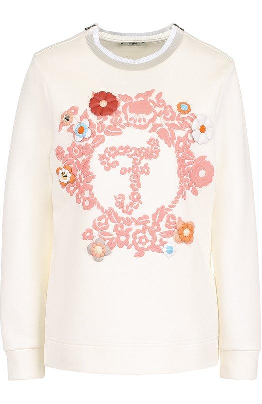 Купить Хлопковый пуловер с контрастной отделкой Fendi, FS6864/408, Италия, Белый, Хлопок: 89%; Полиамид: 11%; Отделка кожа натуральная: 100%;