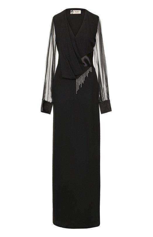 Платье-макси с прозрачными рукавами и высоким разрезом Lanvin