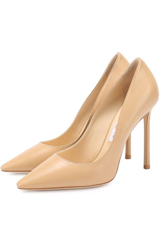 Купить Кожаные туфли Romy 110 на шпильке Jimmy Choo, R0MY 110/KID, Италия, Бежевый, Кожа натуральная: 100%; Стелька-кожа: 100%; Подошва-кожа: 100%; Подкладка-кожа: 100%; Кожа: 100%;