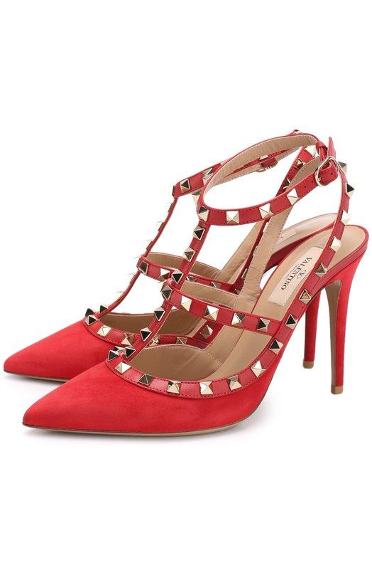 Купить Замшевые туфли Valentino Garavani Rockstud на шпильке Valentino, NW0S0393/WVW, Италия, Красный, Кожа натуральная: 100%; Стелька-кожа: 100%; Подошва-кожа: 100%; Замша натуральная: 100%;