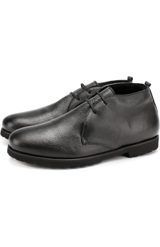 Купить Кожаные ботинки на шнуровке с внутренней меховой отделкой Rocco P., 3192T/12M, Италия, Черный, Кожа натуральная: 100%; Подошва-резина: 100%; Стелька-овчина: 100%;