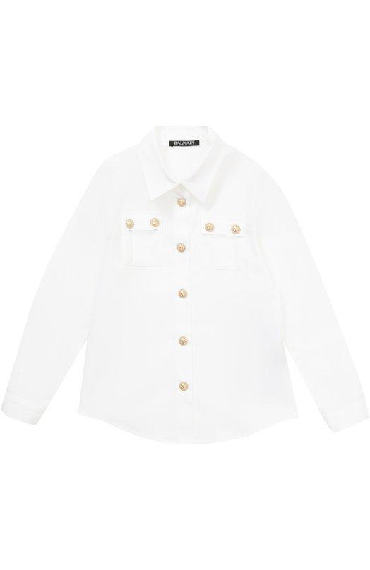 Хлопковая блуза прямого кроя с декоративными пуговицами Balmain