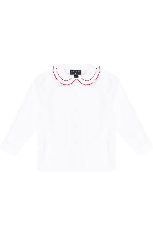 Купить Хлопковая блуза с контрастной отделкой Oscar de la Renta Португалия 5185793 F172C704