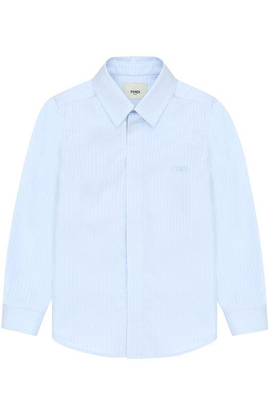 Хлопковая рубашка прямого кроя в полоску Fendi