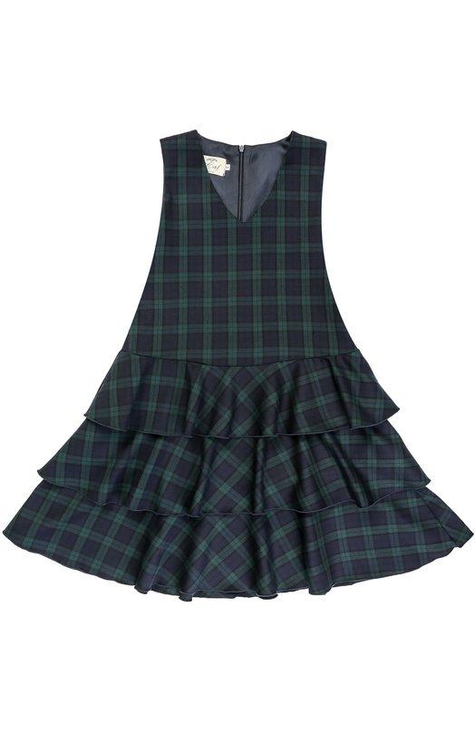 Шерстяное платье с оборками и принтом Caf