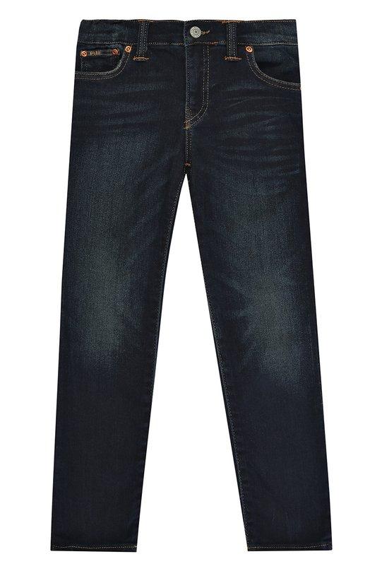 Купить Джинсы прямого кроя с декоративными потертостями Polo Ralph Lauren, 322674245, Египет, Темно-синий, Хлопок: 80%; Полиэстер: 19%; Эластан: 1%;