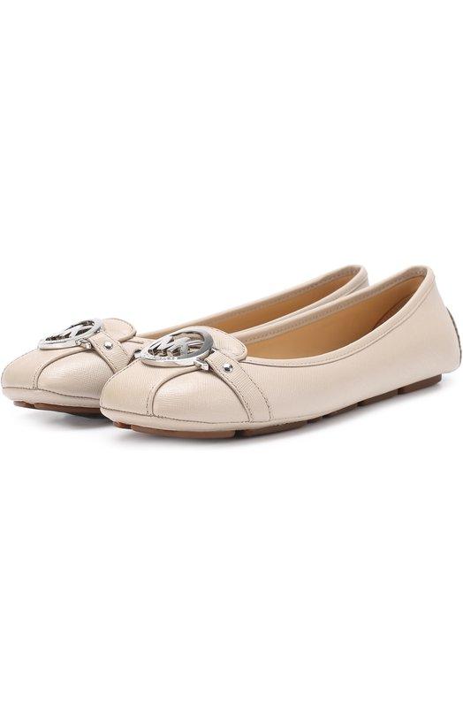 Купить Кожаные балетки Fulton с логотипом бренда MICHAEL Michael Kors, 40T2FUFR1L, Китай, Бежево-серый, Кожа натуральная: 100%; Стелька-кожа: 100%; Подошва-резина: 100%; Подкладка-кожа: 100%;