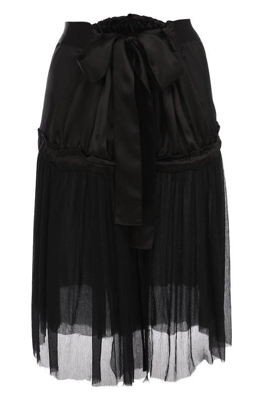Полупрозрачная шелковая юбка-миди Ann Demeulemeester