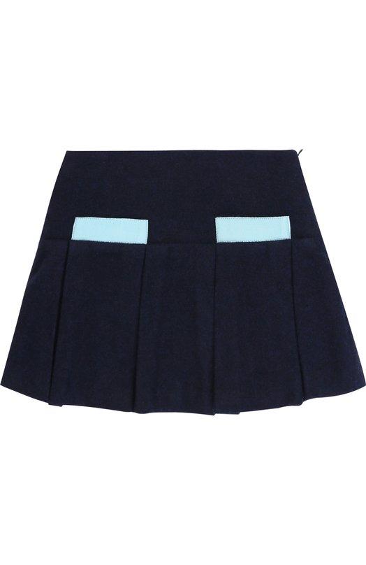 Шерстяная мини-юбка со складками и контрастной отделкой Oscar de la Renta