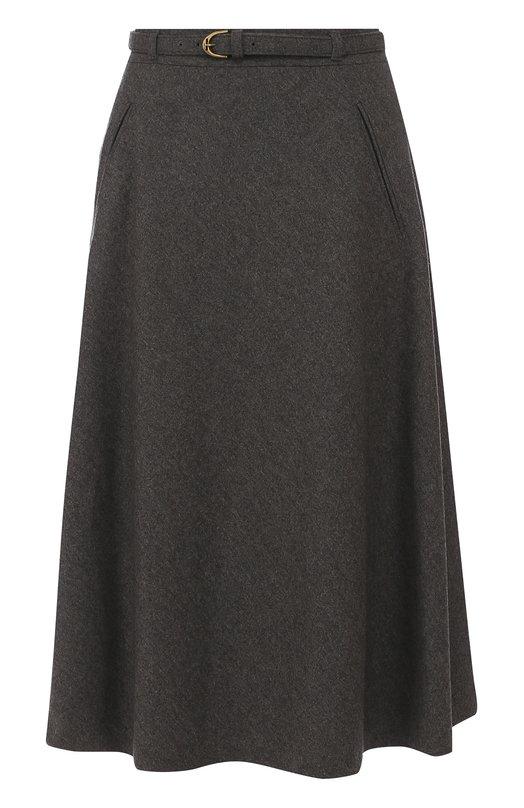 Шерстяная юбка-миди с поясом Ralph Lauren
