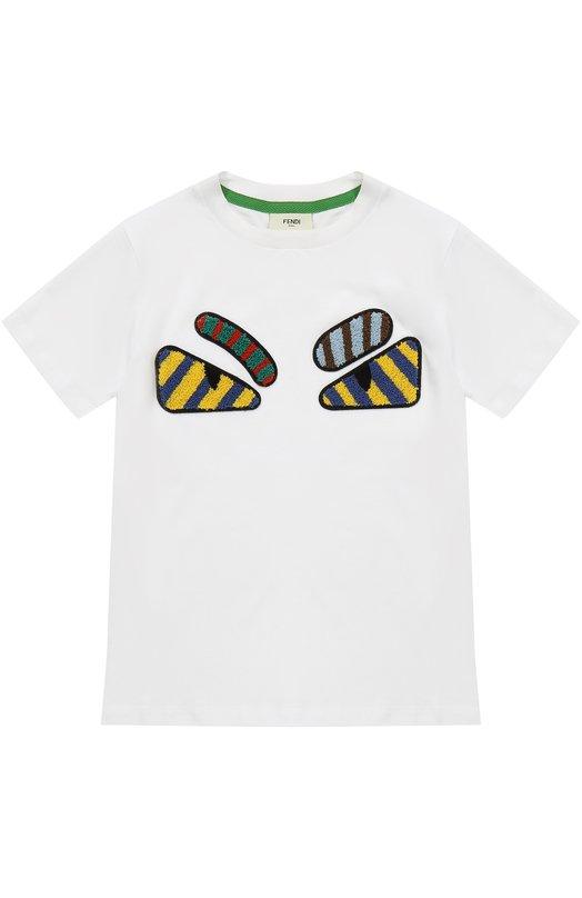 Купить Хлопковая футболка с аппликациями Fendi Roma, JMI111/7AJ/6A-8A, Португалия, Белый, Хлопок: 100%;