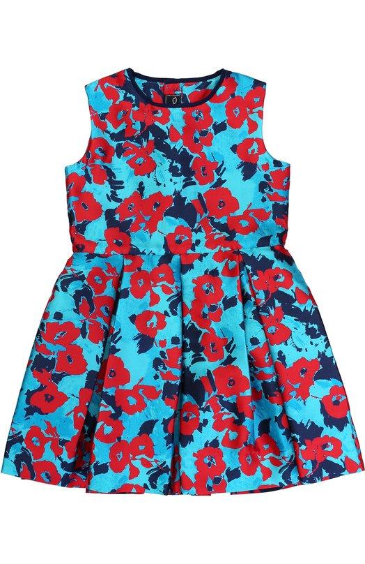 Купить Мини-платье из смеси хлопка и шелка с принтом Oscar de la Renta, F172C617, Португалия, Разноцветный, Шелк: 55%; Хлопок: 45%; Подкладка-ацетат: 100%;