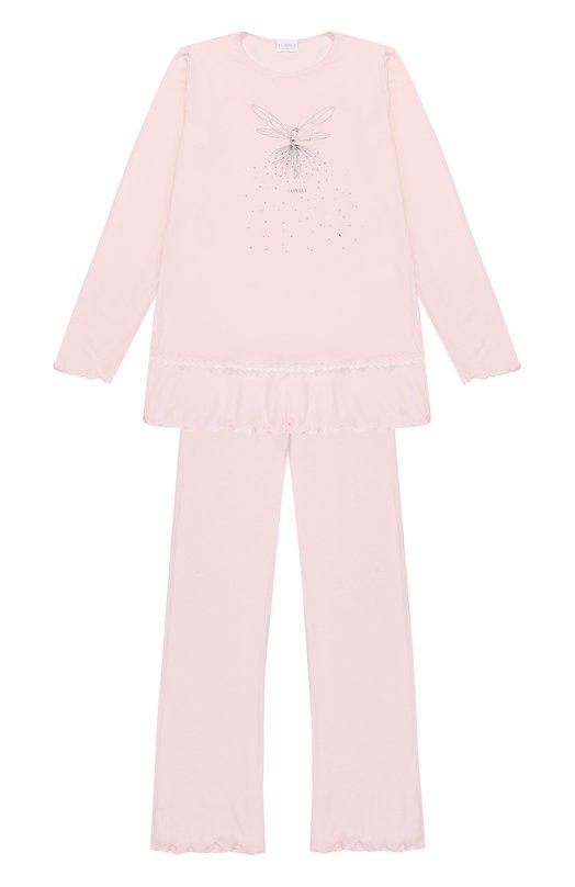 Купить Пижама с металлизированным принтом и стразами La Perla, 54611/8A-14A, Италия, Розовый, Вискоза: 93%; Эластан: 7%;