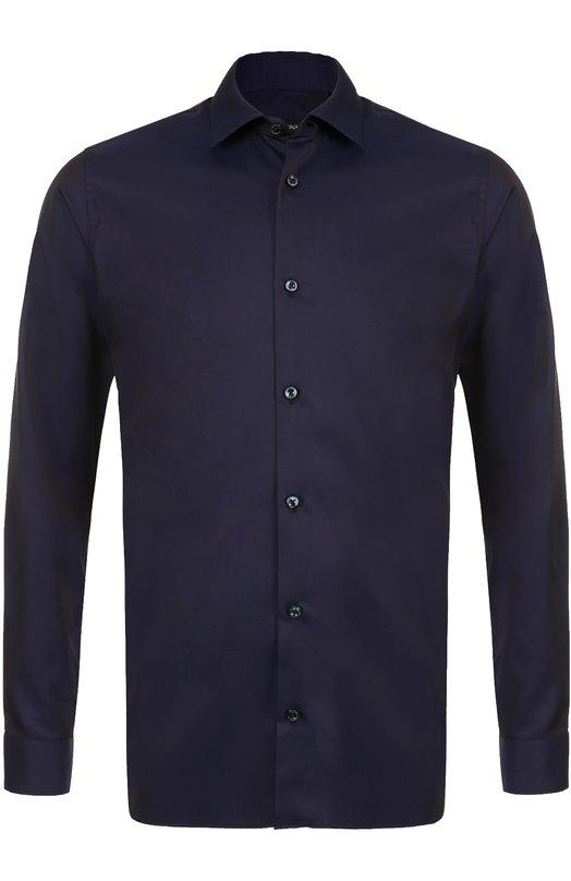 Купить Хлопковая сорочка с воротником кент Z Zegna, 205246/9DFLER, Египет, Темно-синий, Хлопок: 100%;