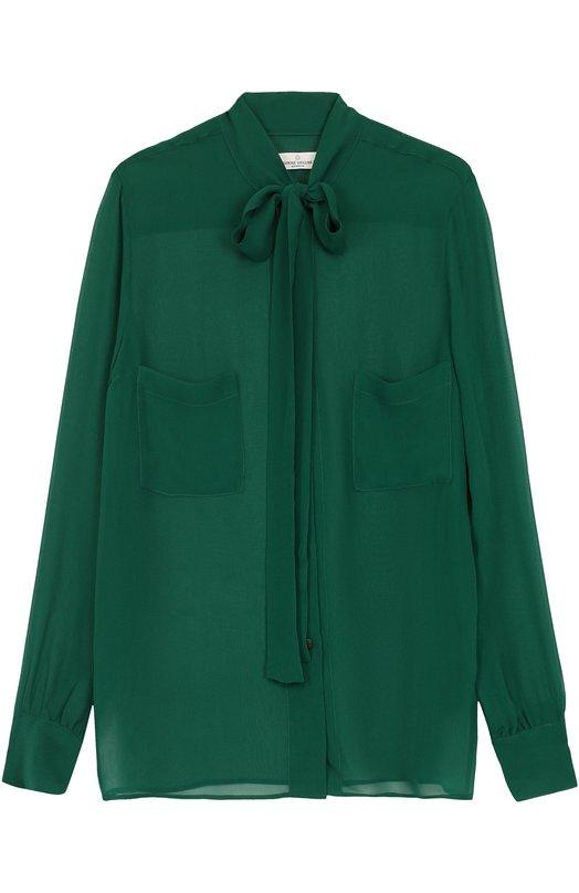 Купить Шелковая блуза свободного кроя с воротником аскот Golden Goose Deluxe Brand Италия 5187199 G31WP055.B1