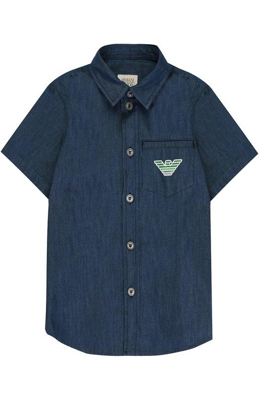 Купить Рубашка из денима с логотипом бренда Armani Junior, 6Y4C17/4N0SZ/11A-16A, Тунис, Синий, Хлопок: 100%;