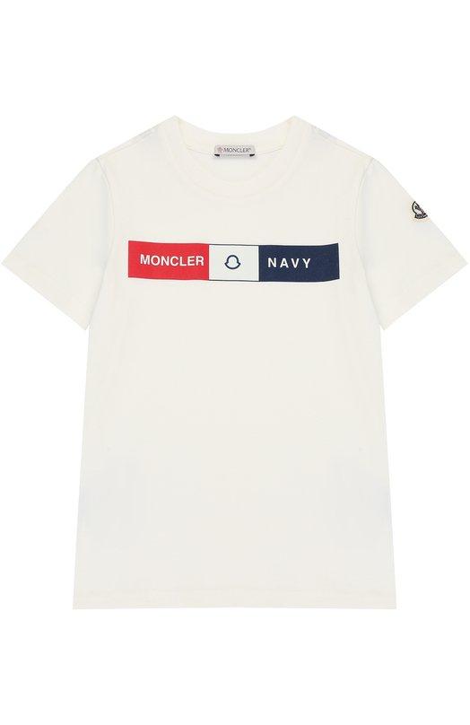 Купить Хлопковая футболка с принтом Moncler Enfant, C2-954-80173-50-83092/4-6A, Португалия, Белый, Хлопок: 100%;