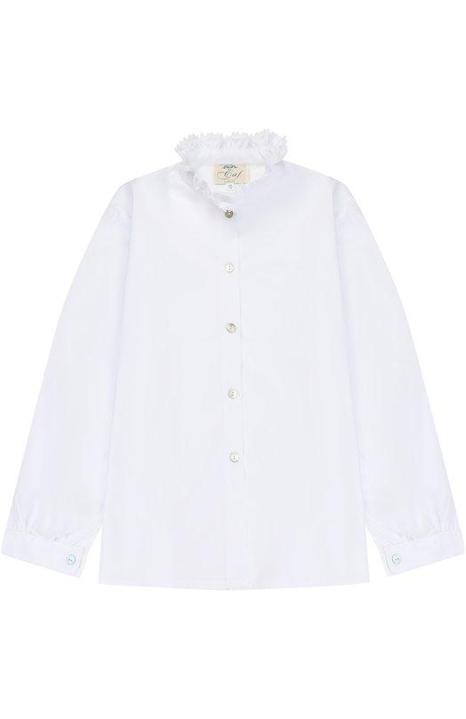 Хлопковая блуза с кружевным воротником-стойкой Caf 22-P0/R0UCHE DEL C0LLETT0/9A-11A