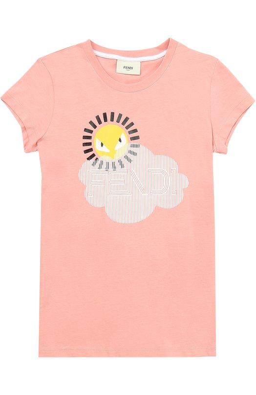 Купить Хлопковая футболка с принтом Fendi Roma, JFI061/7AJ/6A-8A, Португалия, Розовый, Хлопок: 100%;