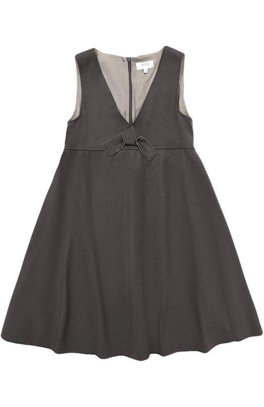 Купить Платье с завышенной талией и бантом Aletta, AF777381N/9A-16A, Италия, Темно-серый, Подкладка-ацетат: 60%; Полиэстер: 52%; Вискоза: 44%; Подкладка-вискоза: 40%; Эластан: 4%;