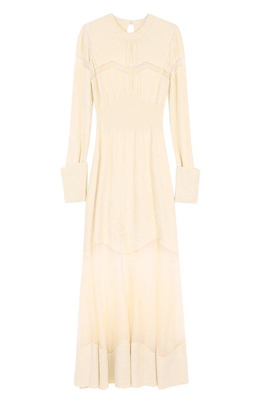 Купить Вязаное платье-макси с прозрачными вставками Alexander McQueen Италия 5180893 488005/Q1WGY