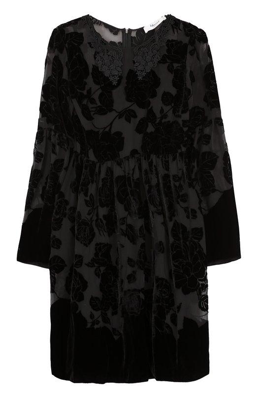 Купить Мини-платье с завышенной талией и длинным рукавом Blugirl, 4411, Италия, Черный, Вискоза: 70%; Шелк: 30%; Подкладка-полиэстер: 100%;