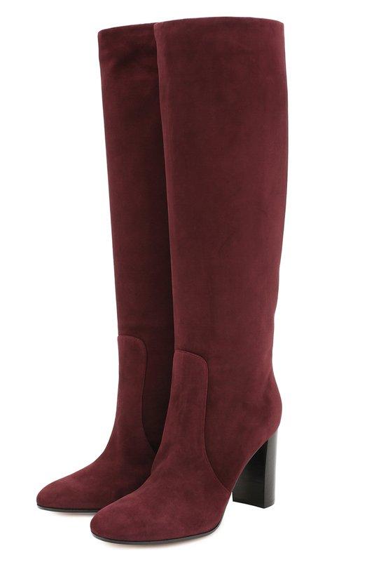Купить Замшевые сапоги на устойчивом каблуке Gianvito Rossi, G80758.85CU0.CAS, Италия, Бордовый, Стелька-кожа: 100%; Подошва-кожа: 100%; Подошва-резина: 100%; Замша натуральная: 100%;