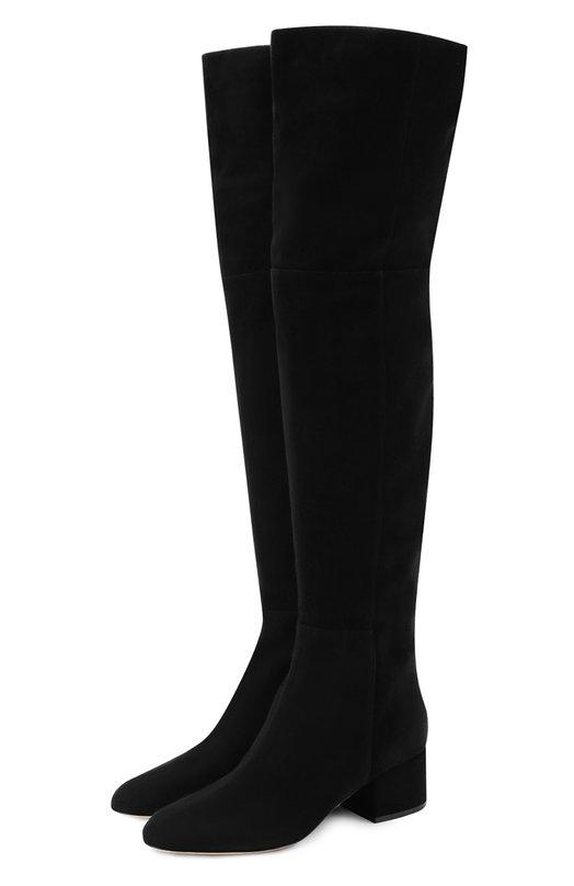 Купить Замшевые ботфорты на низком каблуке Sergio Rossi, A78350-MCAZ01, Италия, Черный, Стелька-кожа: 100%; Подошва-кожа: 100%; Замша натуральная: 100%;