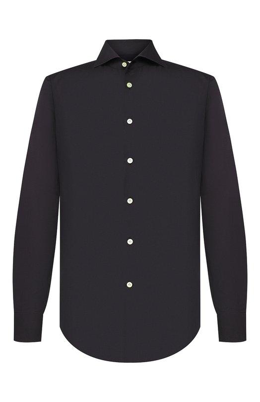 Купить Хлопковая сорочка с воротником акула Kiton, UCIH000310700H, Италия, Черный, Хлопок: 100%;