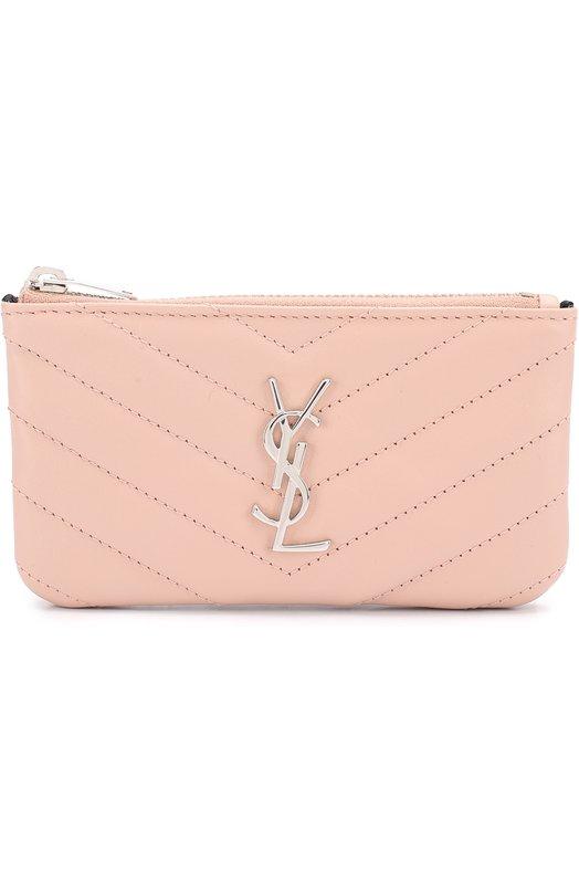 Купить Футляр для ключей с логотипом бренда Saint Laurent, 438386/CWU02, Италия, Светло-розовый, Кожа натуральная: 100%;