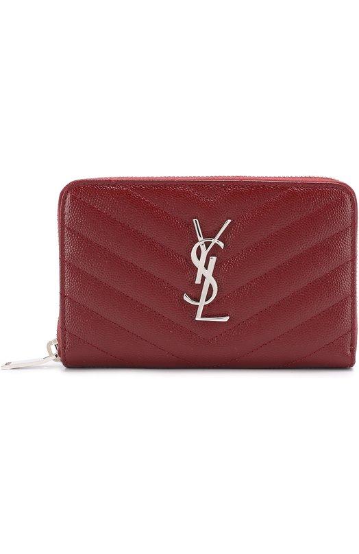 Купить Кожаное портмоне на молнии с логотипом бренда Saint Laurent, 481407/B0W02, Италия, Красный, Кожа натуральная: 100%;