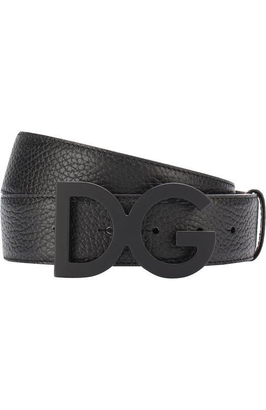 Кожаный ремень с логотипом бренда на пряжке Dolce & Gabbana
