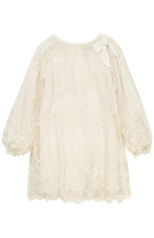 Купить Кружевное мини-платье свободного кроя с бантом Ermanno Scervino, 41 I AB19/10-16, Италия, Белый, Отделка-полиэстер: 6%; Отделка-акрил: 35%; Отделка-хлопок: 34%; Отделка-полиамид: 25%; Полиамид: 100%; Подкладка-вискоза: 100%;