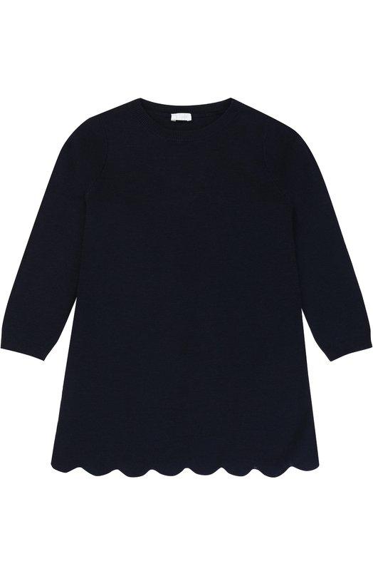 Купить Вязаное мини-платье прямого кроя с фигурным подолом Il Gufo, A17VT065EM405/5A-8A, Италия, Синий, Шерсть: 100%;