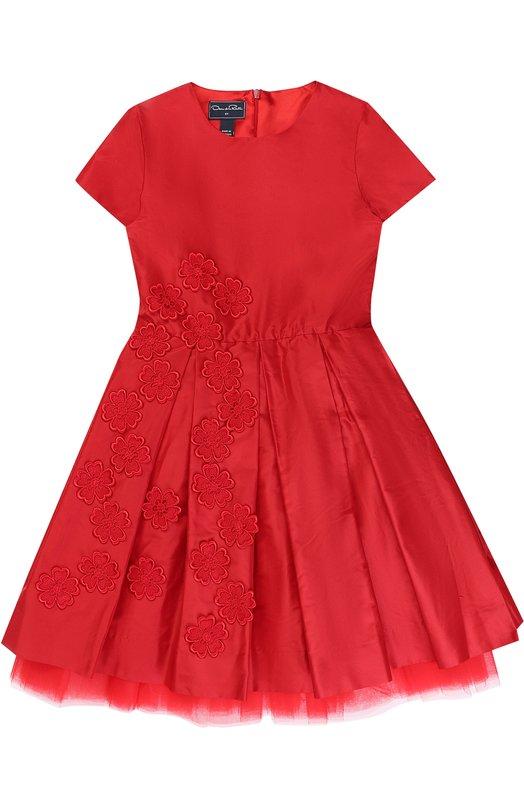 Купить Шелковое платье с пышной юбкой и цветочной аппликацией Oscar de la Renta, F172C648, Португалия, Красный, Шелк: 100%; Подкладка-ацетат: 100%;